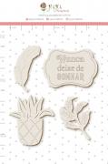 Enfeite Chipboard Branco Nunca Deixe de Sonhar  - Coleção Sonho Meu - Juju Scrapbook