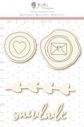 Enfeite Chipboard Branco Saudade  - Coleção Cartas para Você - Juju Scrapbook