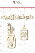 Enfeite Chipboard Branco Criatividade - Coleção Quarentena Criativa - Juju Scrapbook