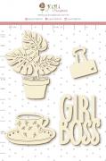 Enfeite Chipboard Branco Girl Boss - Coleção Quarentena Criativa - Juju Scrapbook