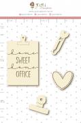 Enfeite Chipboard Branco Home Sweet Home Office - Coleção Quarentena Criativa - Juju Scrapbook