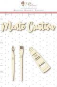 Enfeite Chipboard Branco Mente Criativa - Coleção Quarentena Criativa - Juju Scrapbook
