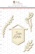 Enfeite Chipboard Branco Seja Amor - Coleção Quarentena Criativa - Juju Scrapbook