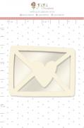 Shaker Chipboard Branco Cartinha - Coleção Cartas para Você - JuJu Scrapbook