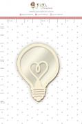Shaker Chipboard Branco Lâmpada - Coleção Quarentena Criativa - Juju Scrapbook