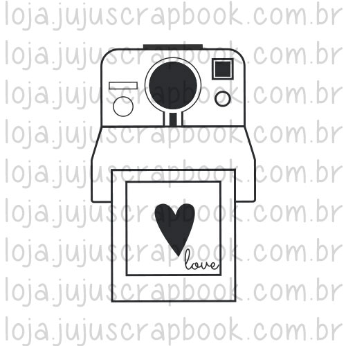 Carimbo Modelo Polaroid Love - Coleção Picnic / JuJu Scrapbook  - JuJu Scrapbook