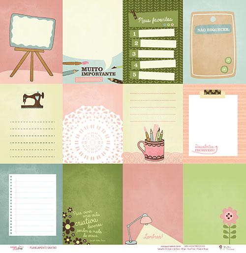 Papel Planejamento Criativo - Coleção Love Scrap - JuJu Scrapbook  - JuJu Scrapbook