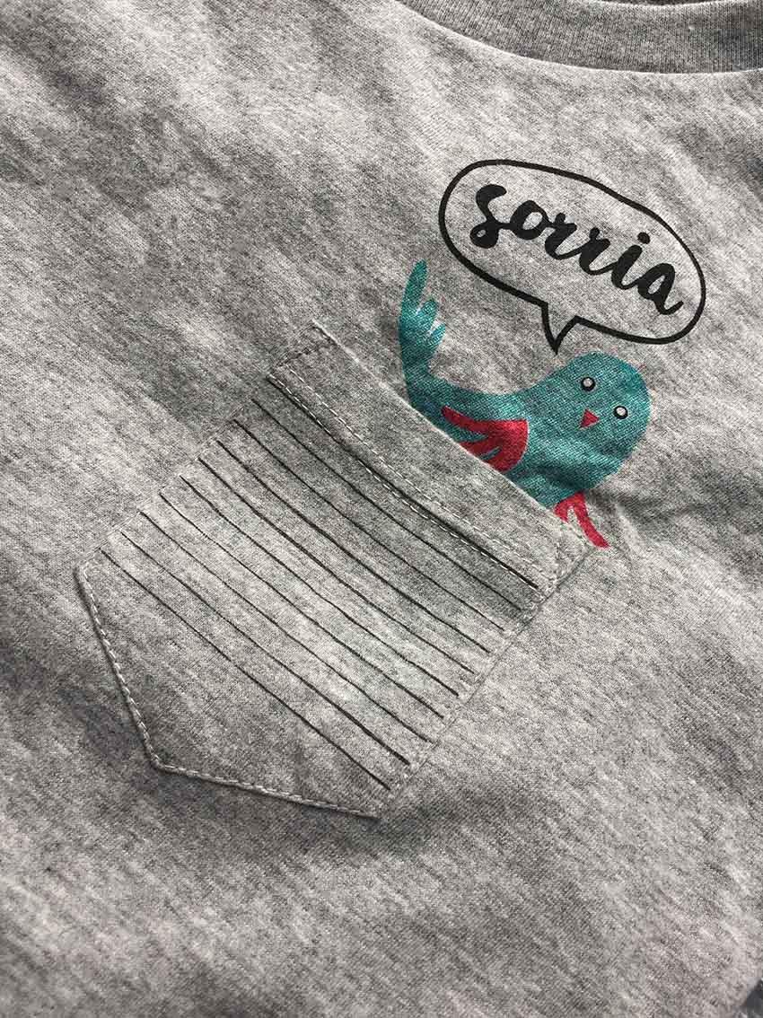 T-shirt Modelo Passarinho - Coleção Picnic   JuJu Scrapbook - JuJu Scrapbook 75c918787f