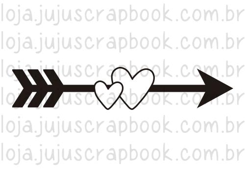 Carimbo Modelo Flecha e Corações - Coleção Família para Sempre / JuJu Scrapbook  - JuJu Scrapbook