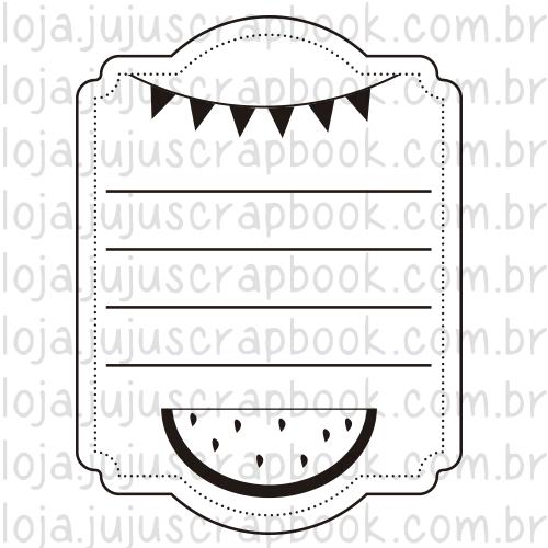 Carimbo Modelo Journaling Melancia - Coleção Picnic / JuJu Scrapbook  - JuJu Scrapbook