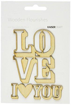 Wooden Flourishes - Love You / Kaiser Craft  - JuJu Scrapbook