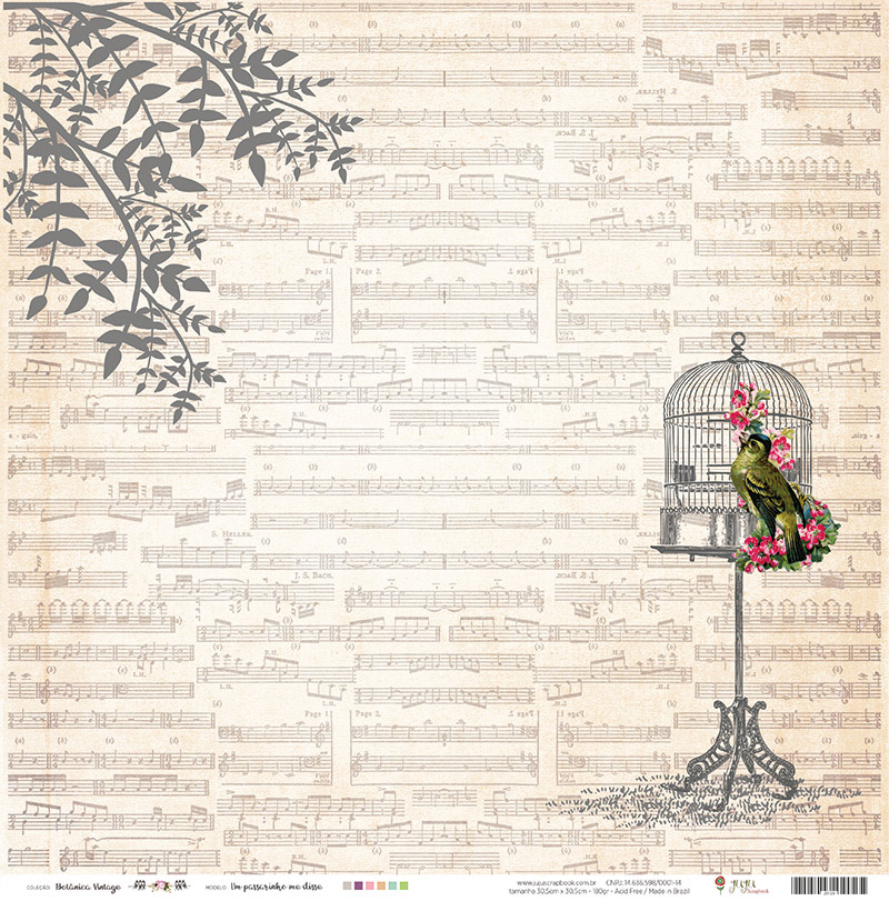 Papel Um Passarinho me Disse - Coleção Botânica Vintage - JuJu Scrapbook  - JuJu Scrapbook