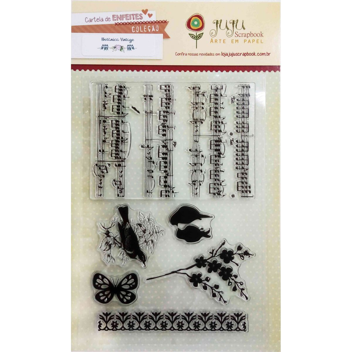 Cartela de Carimbos em Silicone - Modelo Canção dos Pássaros - Coleção Botânica Vintage / Juju Scrapbook  - JuJu Scrapbook