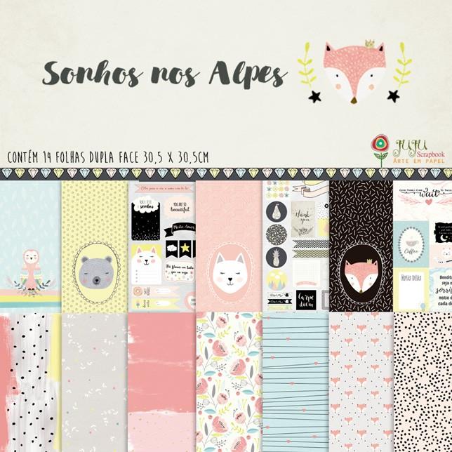 Kit Coordenado - Coleção Sonhos nos Alpes - Juju Scrapbook  - JuJu Scrapbook