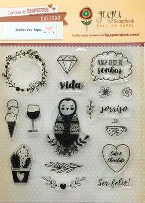 """Cartela de Carimbos Modelo """"Ser Feliz"""" - Coleção Sonhos nos Alpes / Juju Scrapbook  - JuJu Scrapbook"""
