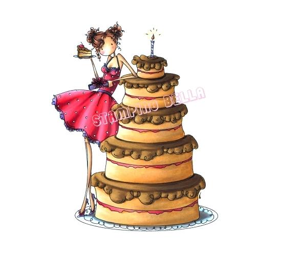 Carimbo Stamping Bella - Modelo Bianca loves her Big Cake  - JuJu Scrapbook