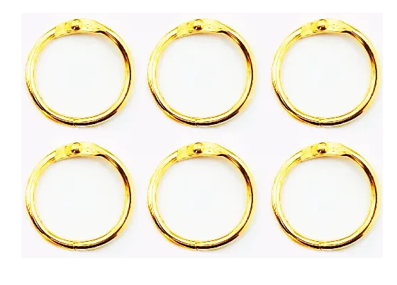 Argolas Articuladas em Metal 3,5 cm - Dourada  JuJu Scrapbook  - JuJu Scrapbook