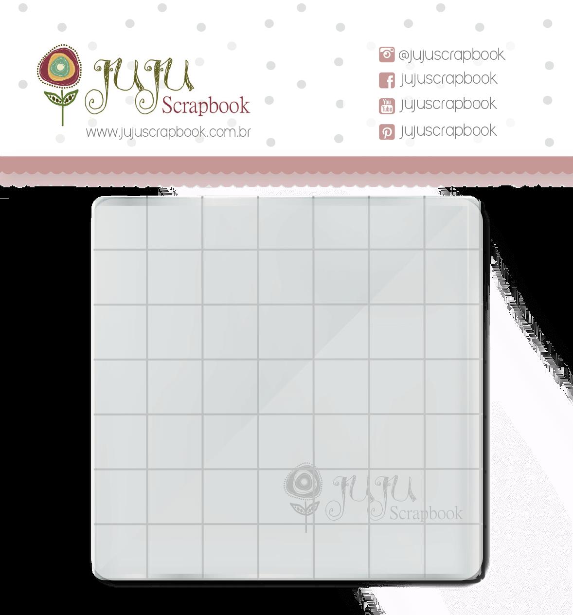 Base Acrílica para Carimbo - 7 cm X 7 cm / JuJu Scrapbook  - JuJu Scrapbook
