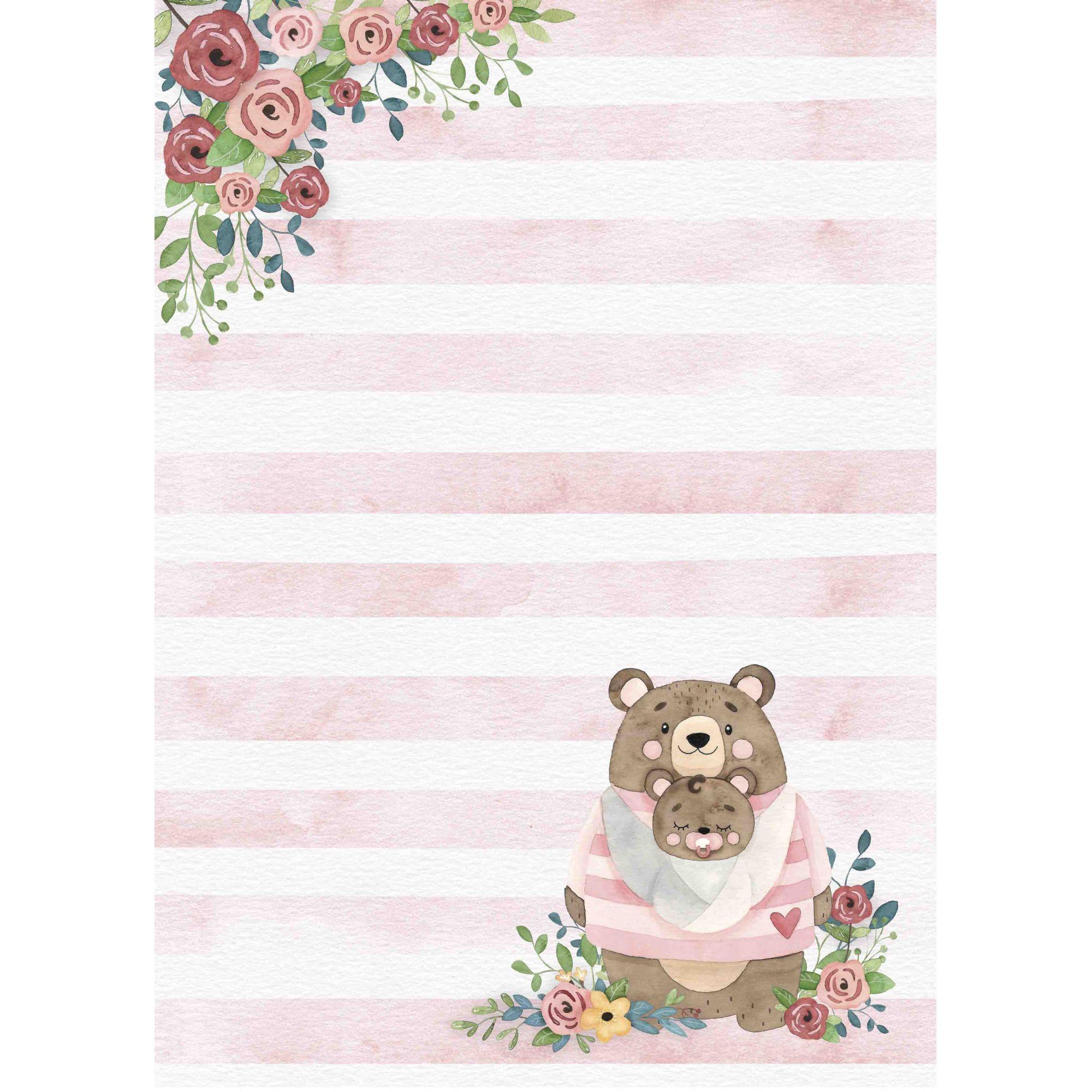 Bloco de Folhas A4 - Coleção Abraço de Urso - JuJu Scrapbook  - JuJu Scrapbook