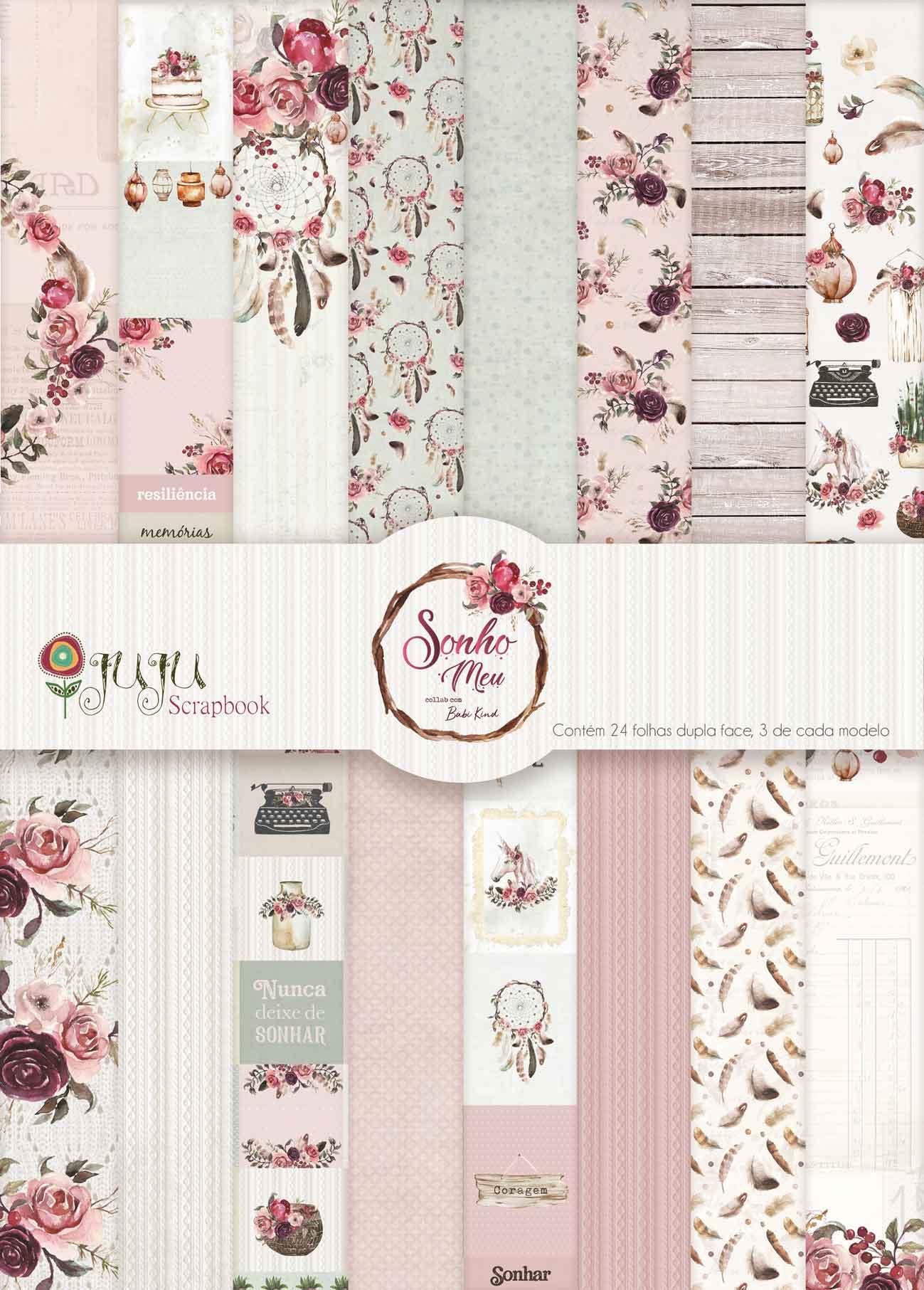 Bloco de Folhas A4 - Coleção Sonho Meu - JuJu Scrapbook  - JuJu Scrapbook