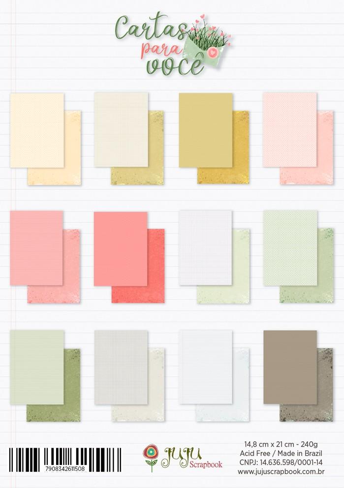 Bloco de Folhas A5 - Coleção Cartas para Você - JuJu Scrapbook  - JuJu Scrapbook