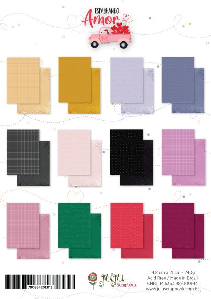 Bloco de Folhas A5 - Coleção Espalhando Amor - JuJu Scrapbook  - JuJu Scrapbook