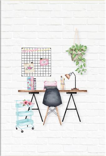 """Caderno """"Home Office"""" - Scrap Minuto - Coleção Quarentena Criativa / Juju Scrapbook  - JuJu Scrapbook"""