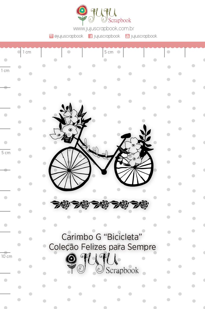 Carimbo G Bicicleta - Coleção Felizes para Sempre - JuJu Scrapbook  - JuJu Scrapbook
