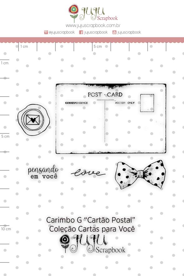 Carimbo G Cartão Postal- Coleção Cartas para Você - JuJu Scrapbook  - JuJu Scrapbook