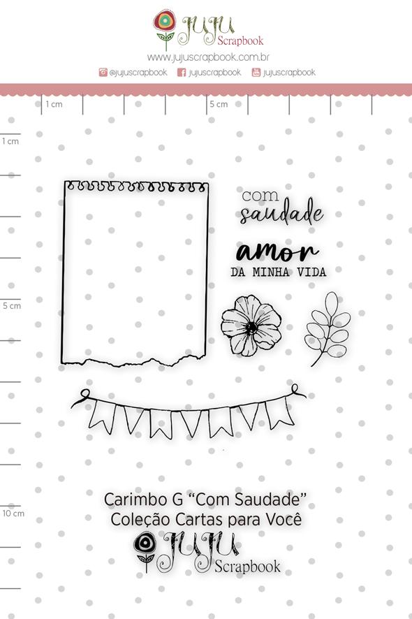 Carimbo G Com Saudade - Coleção Cartas para Você - JuJu Scrapbook  - JuJu Scrapbook