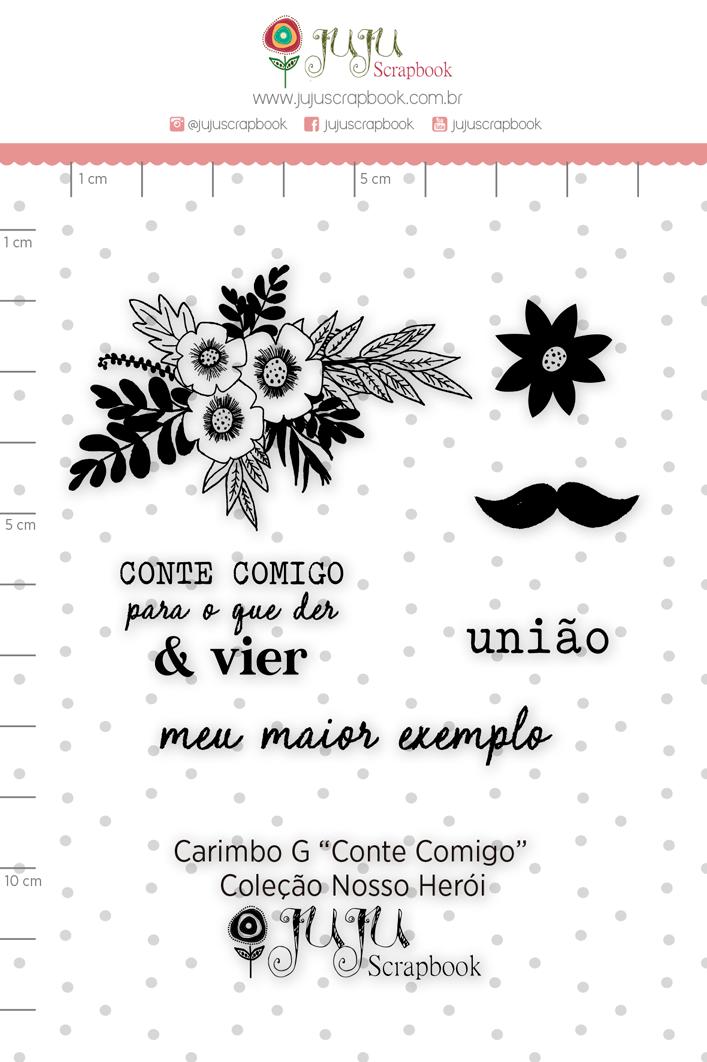 Carimbo G Conte Comigo - Coleção Nosso Herói - JuJu Scrapbook  - JuJu Scrapbook