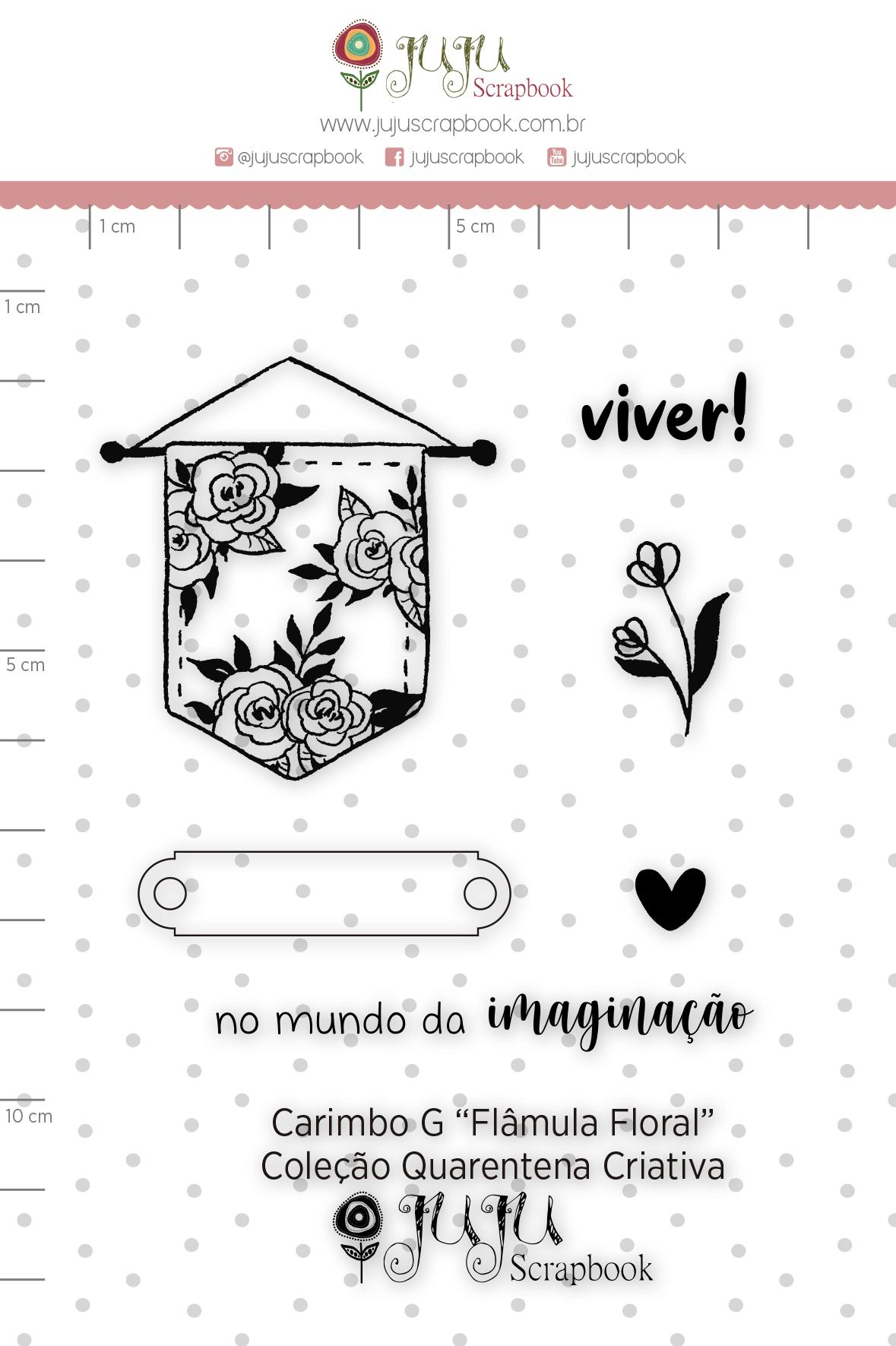 Carimbo G Flâmula Floral - Coleção Quarentena Criativa - Juju Scrapbook  - JuJu Scrapbook