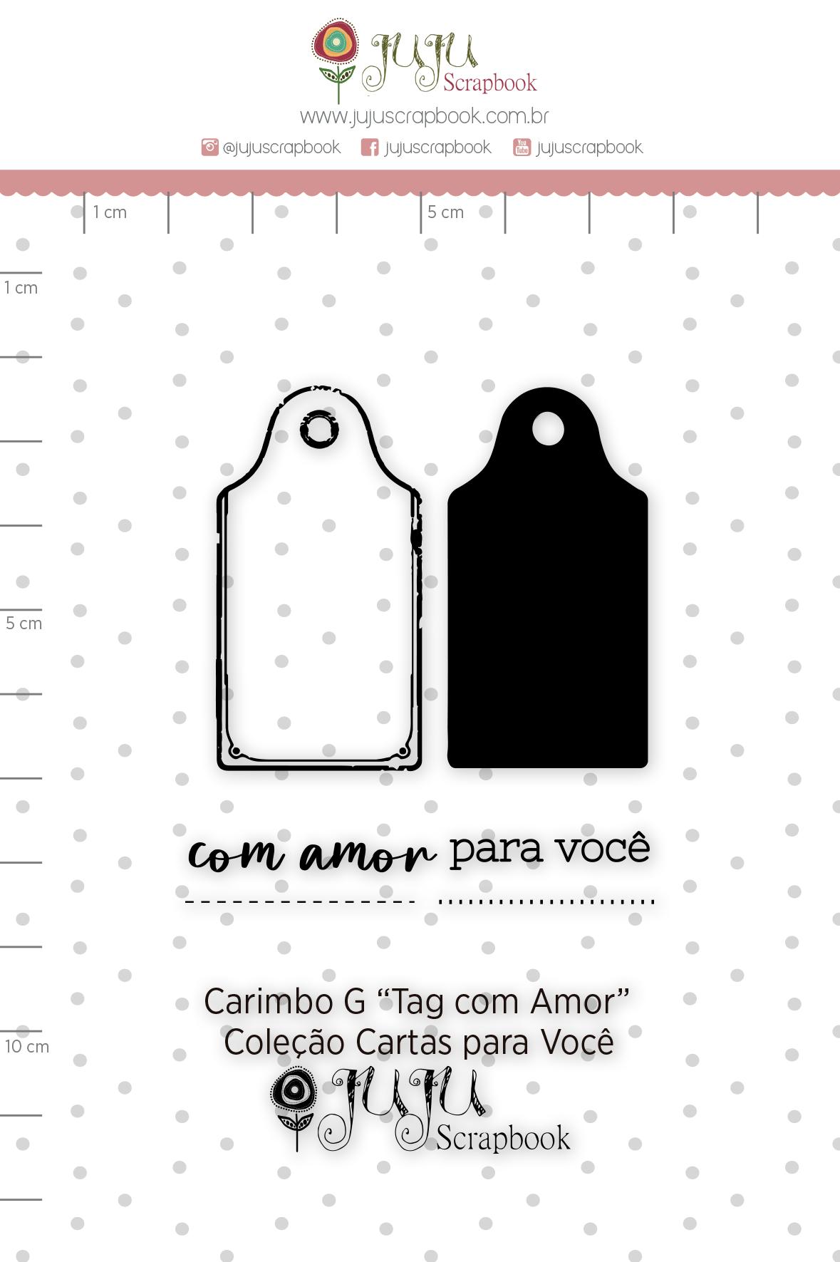 Carimbo G Tag com Amor - Coleção Cartas para Você - JuJu Scrapbook  - JuJu Scrapbook