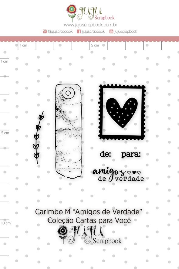 Carimbo M Amigos de Verdade - Coleção Cartas para Você - JuJu Scrapbook  - JuJu Scrapbook