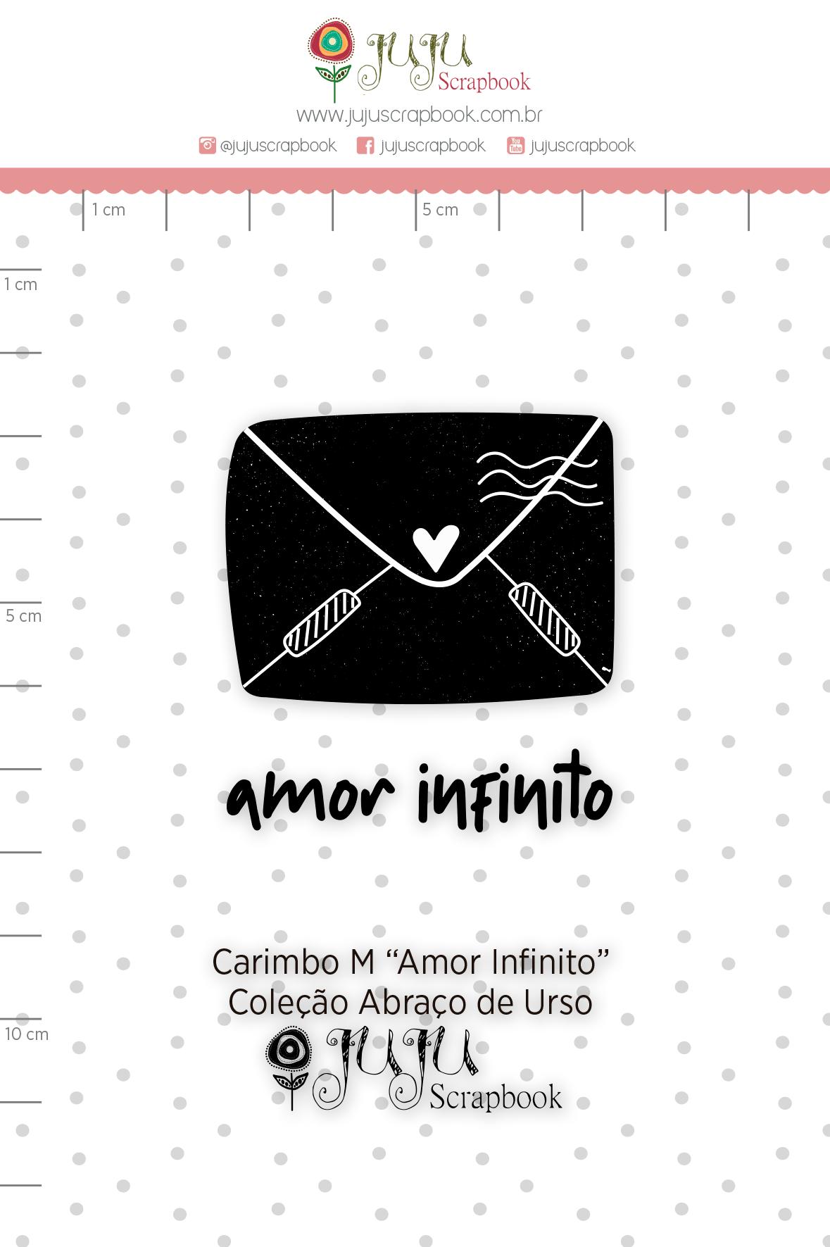 Carimbo M Amor Infinito - Coleção Abraço de Urso - JuJu Scrapbook  - JuJu Scrapbook
