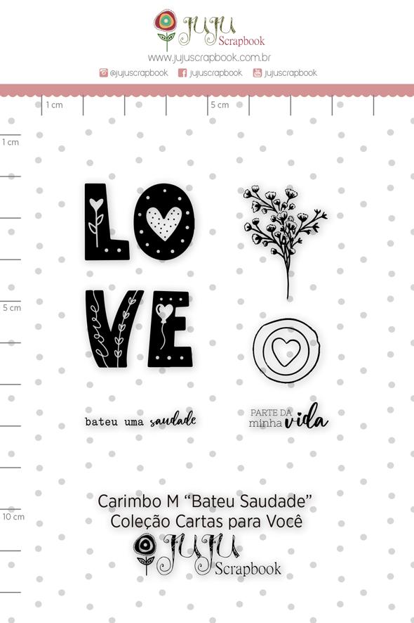 Carimbo M Bateu Saudade - Coleção Cartas para Você - JuJu Scrapbook  - JuJu Scrapbook