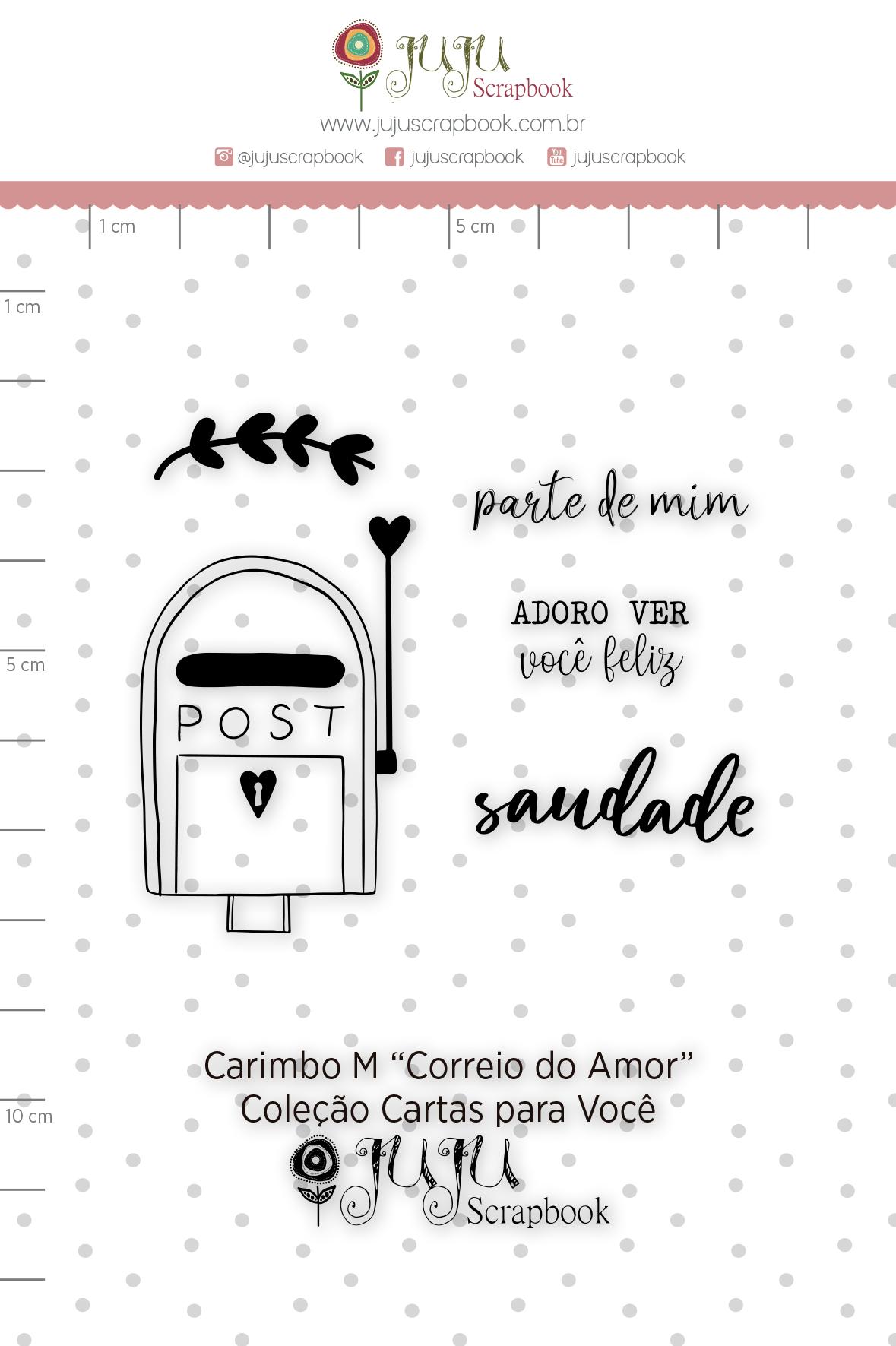 Carimbo M Correio de Amor - Coleção Cartas para Você - JuJu Scrapbook  - JuJu Scrapbook