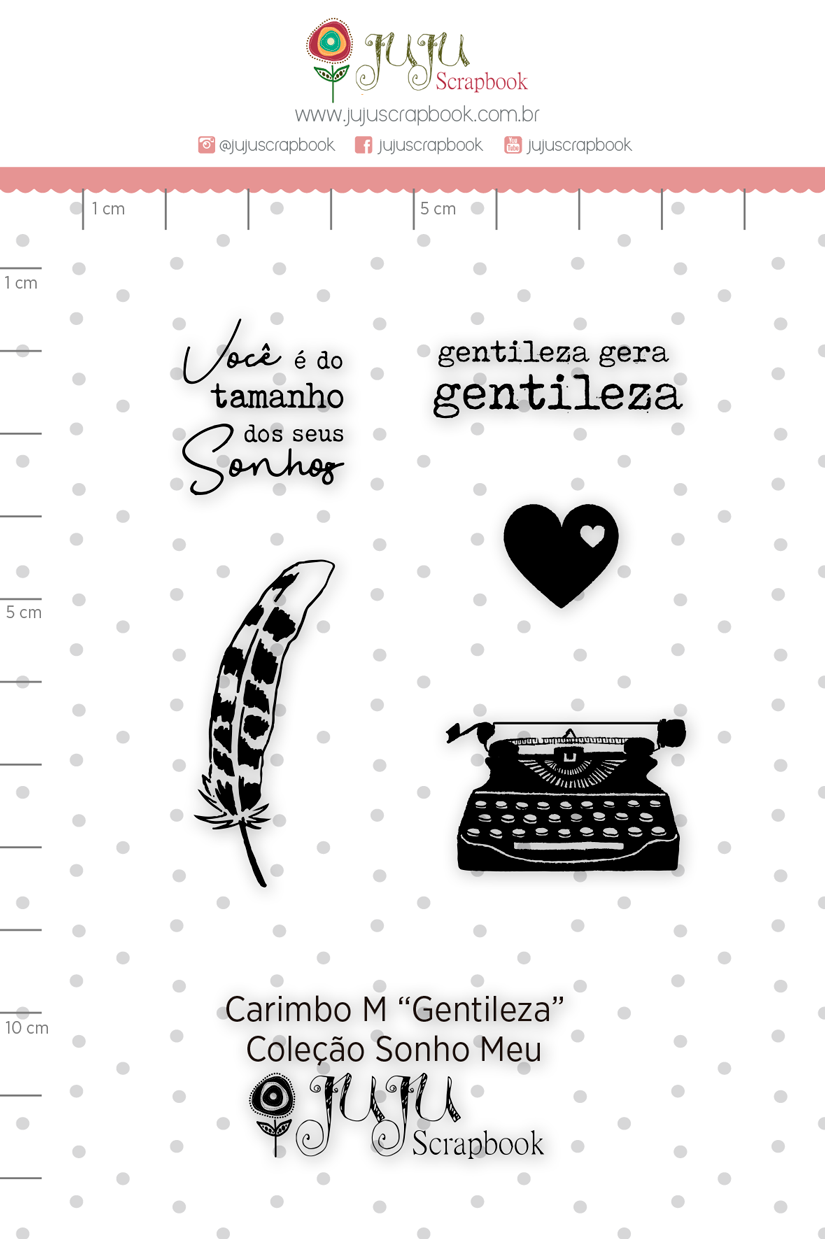 Carimbo M Gentileza - Coleção Sonho Meu - JuJu Scrapbook  - JuJu Scrapbook
