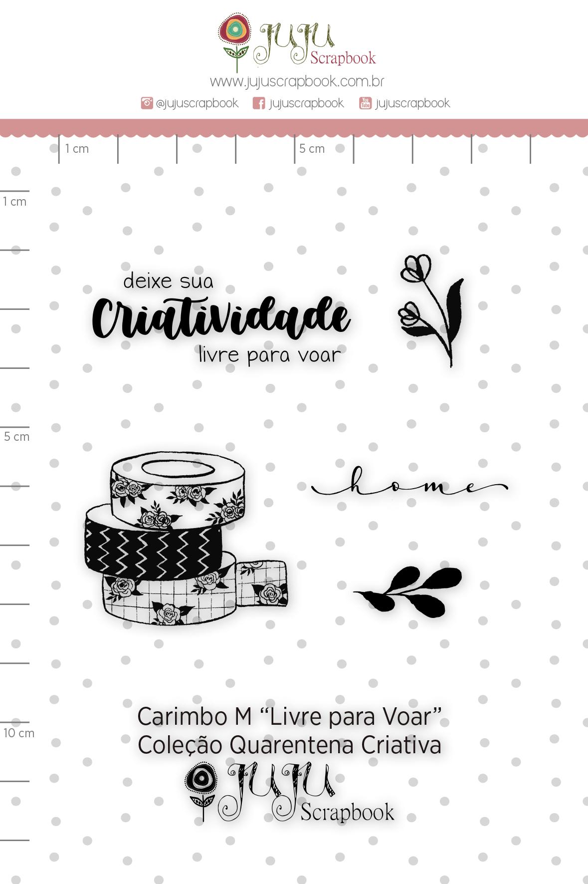 Carimbo M Livre para Voar - Coleção Quarentena Criativa - Juju Scrapbook  - JuJu Scrapbook
