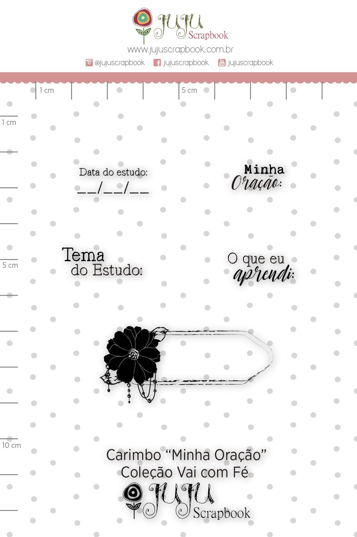 """Carimbo M """"Minha Oração"""" - Coleção Vai com Fé / JuJu Scrapbook  - JuJu Scrapbook"""
