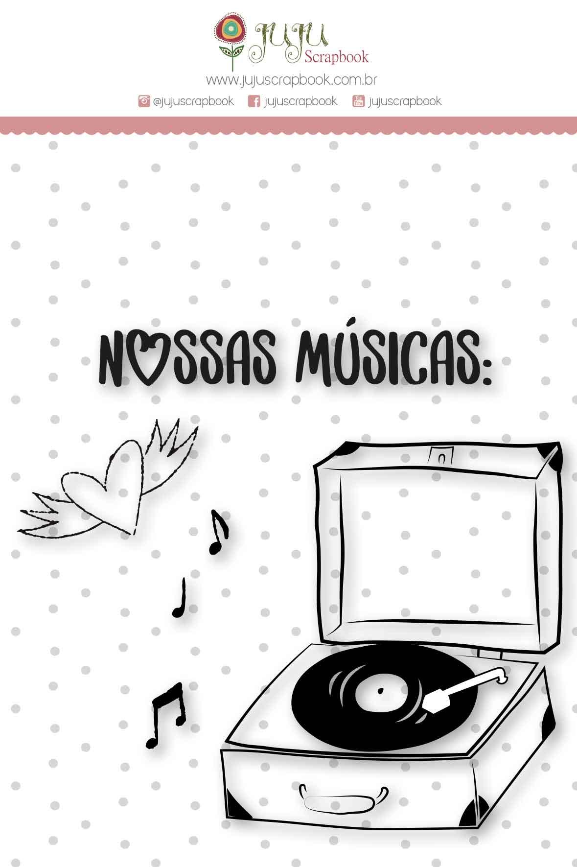 Carimbo M Nossas Músicas - Coleção Espalhando Amor - JuJu Scrapbook  - JuJu Scrapbook