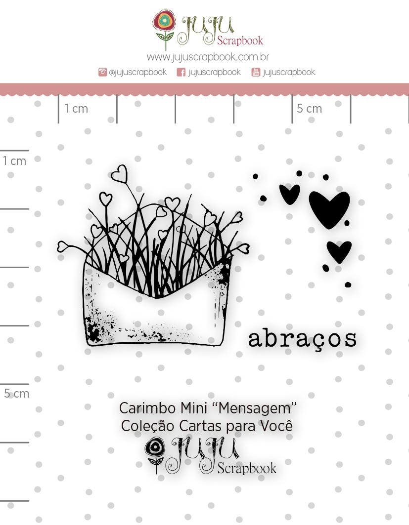 Carimbo Mini Mensagem - Coleção Cartas para Você - JuJu Scrapbook  - JuJu Scrapbook
