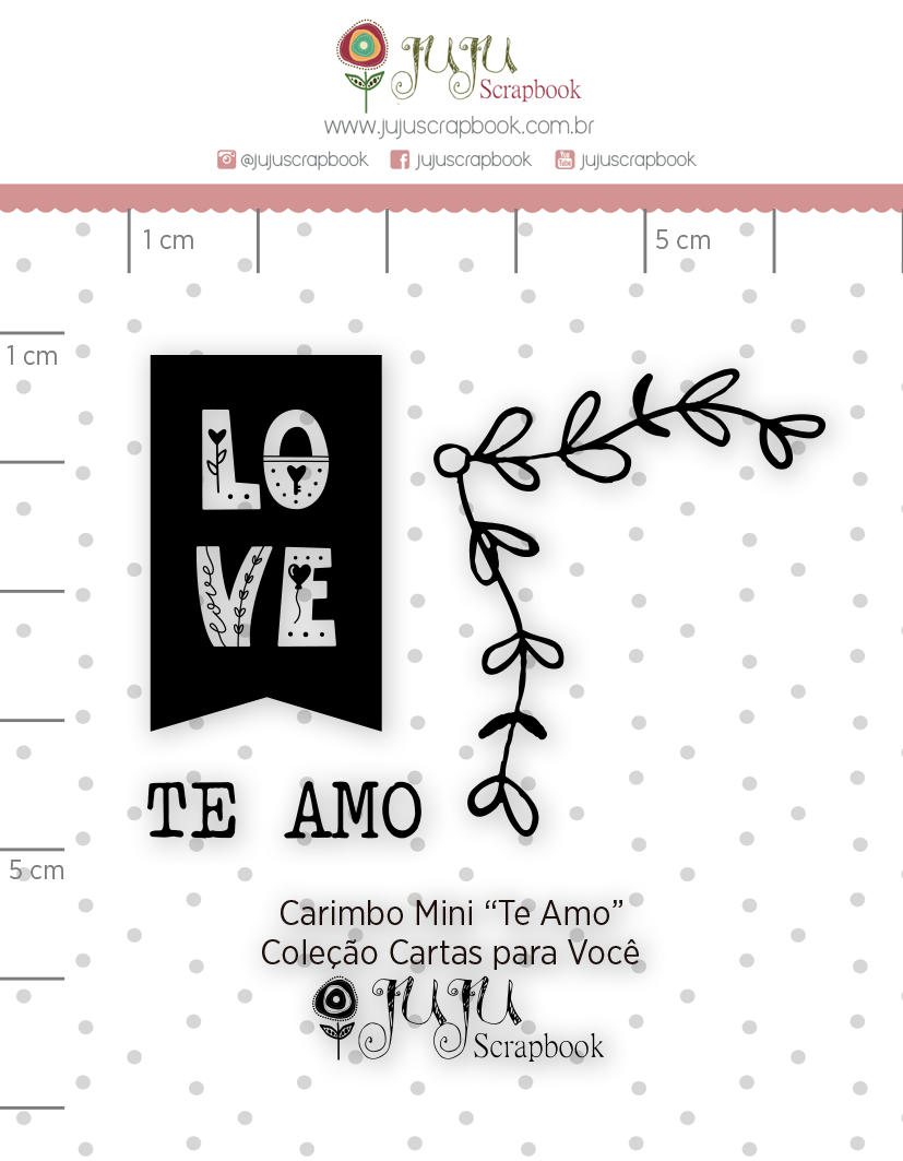 Carimbo Mini Te Amo - Coleção Cartas para Você - JuJu Scrapbook  - JuJu Scrapbook