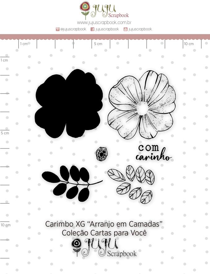 Carimbo XG Arranjo em Camadas - Coleção Cartas para Você - Juju Scrapbook  - JuJu Scrapbook