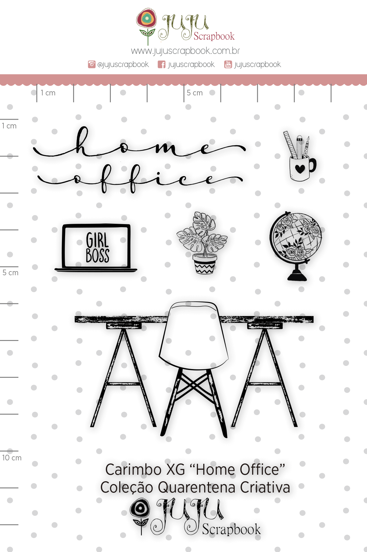Carimbo XG Home Office - Coleção Quarentena Criativa - Juju Scrapbook  - JuJu Scrapbook