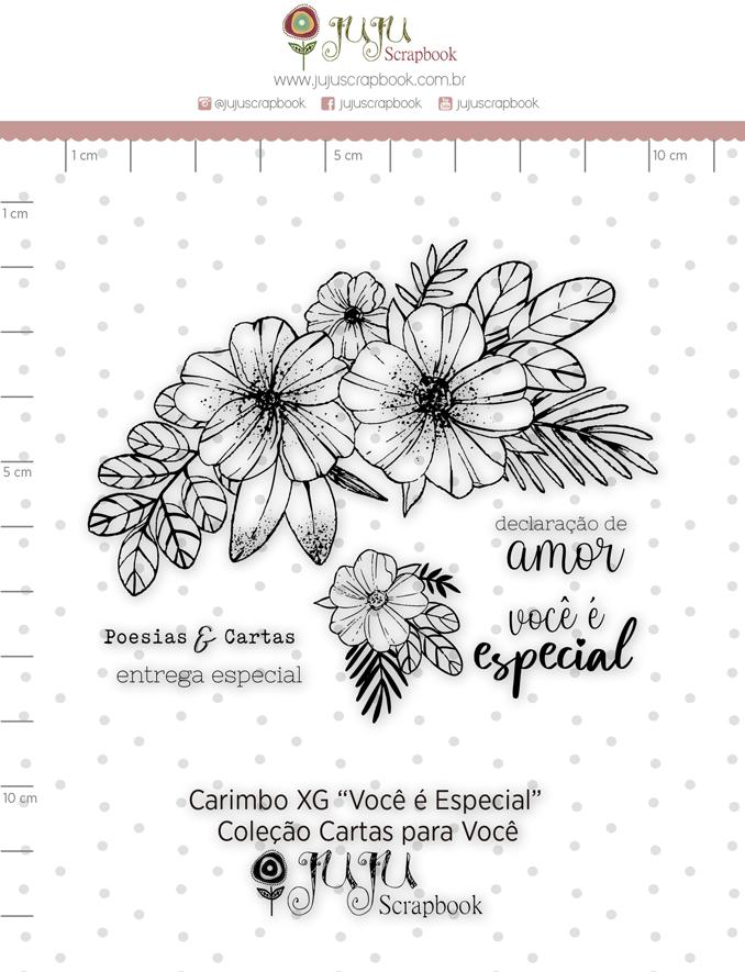 Carimbo XG Você é Especial- Coleção Cartas para Você - Juju Scrapbook  - JuJu Scrapbook