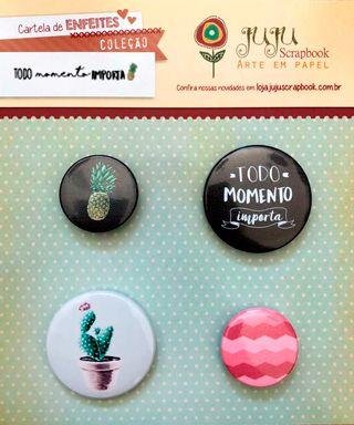 Cartela de Bottons Modelo Todo Momento Importa - Coleção Todo Momento Importa / JuJu Scrapbook  - JuJu Scrapbook