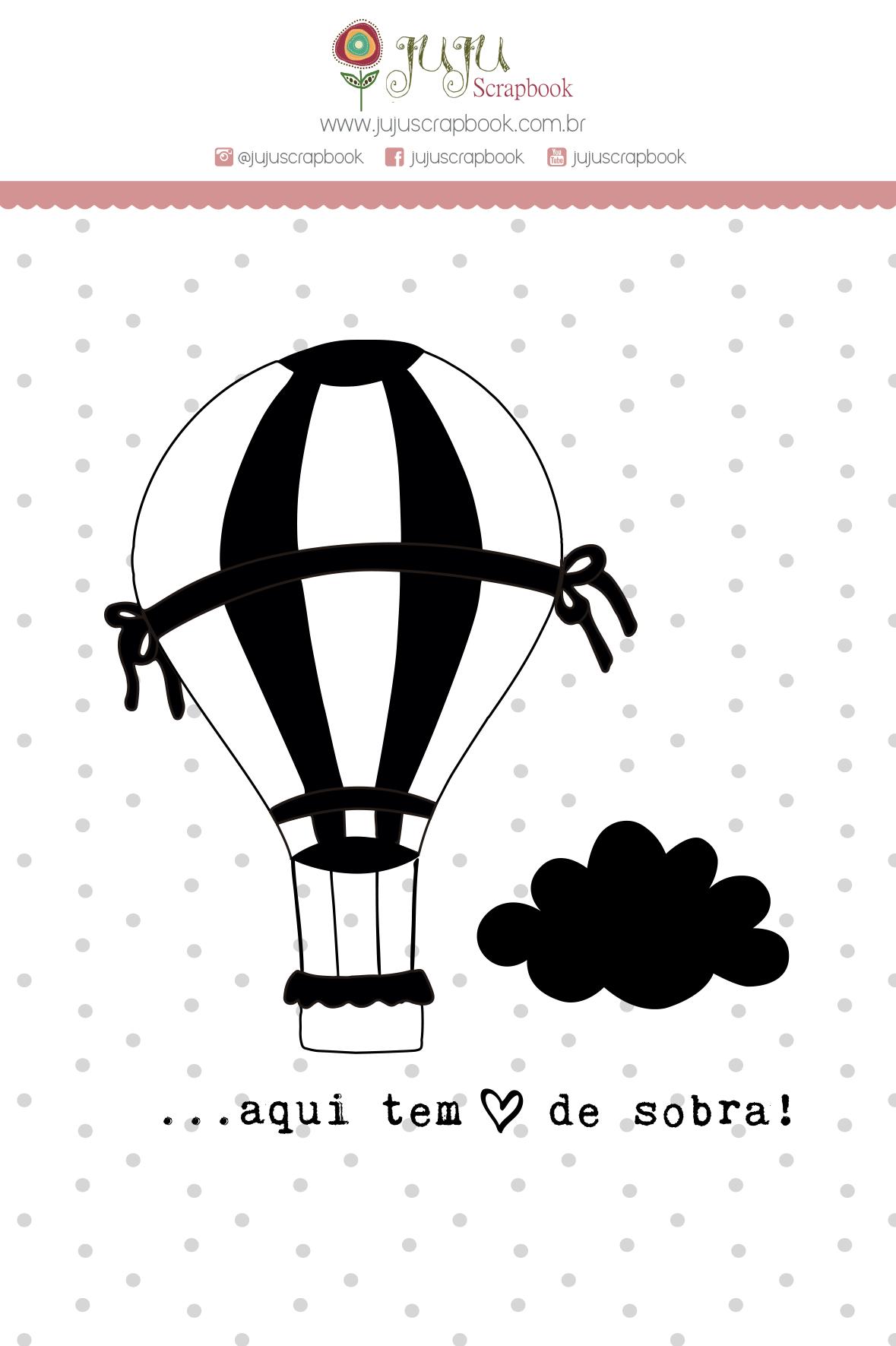 """Cartela de Carimbo G """"Balão"""" - Coleção Meu Coração é Seu / JuJu Scrapbook  - JuJu Scrapbook"""