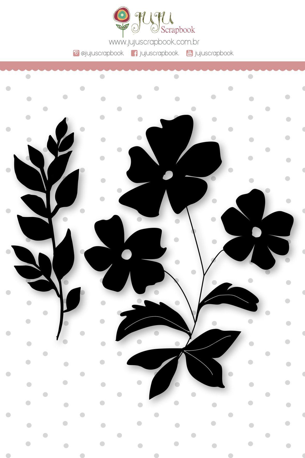 """Cartela de Carimbo G """"Flores"""" - Coleção Felizes para Sempre / JuJu Scrapbook  - JuJu Scrapbook"""