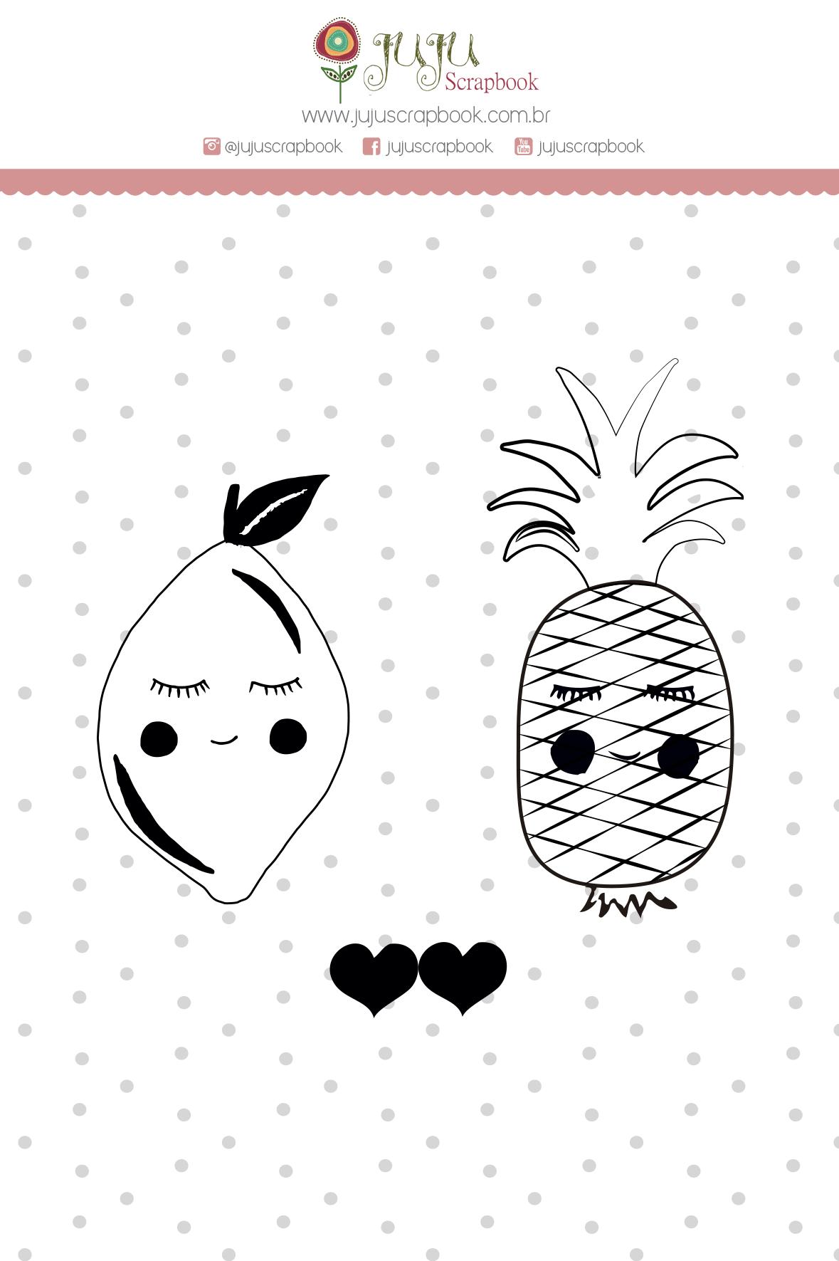 Carimbo M Abacaxi Limão - Coleção Meu Coração é Seu - JuJu Scrapbook  - JuJu Scrapbook